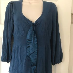 Studio M knit top size large blue tie front